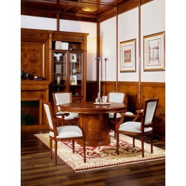 art&moble  26  runder Meetingtisch (Ø:1,30m H:78 cm) klassich in Kirsche und Wurzelholz, hochwertiger Büro Konferenztisch