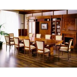 art&moble  27  großer Konferenztisch (B:2,5m x T:1,2m) traditionell klassich in Kirsche und Wurzelholz, Büro Besprechnungstisch