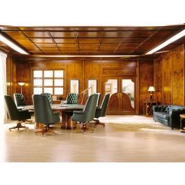 art&moble  30  großer runder Konferenztisch mit Leder-Einlage (Ø:2,50m x H: 78cm) exklusives klassiches Design in Kirsche und Wurzelholz