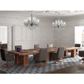 art&moble  31  modularer rechteckiger Konferenztisch mit Ledereinlage (B:6,04m x T:1,8m x H:78cm) sehr exklusives und hochwertiges Design in Nuss und Wurzelholz
