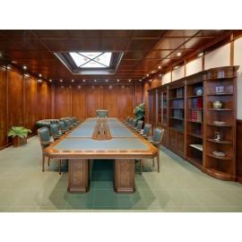 art&moble  32  modular klassischer Konferenztisc, Ledereinlage, exklusiv hochwertiges Tischdesign ind Kirsch und Wurzelholz