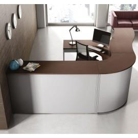 ASK 01 Empfangstresen, Rezeption, Schreibtisch in Wenge und Aluminium
