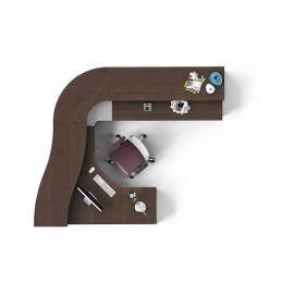 ASK 03 Empfangstresen, Rezeption für ergonomisches arbeiten-stauraum-ablagen, Ordner Ablage, Farbe in Wenge und Silber