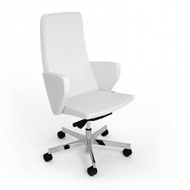 C1 02 Chefdrehstuhl design Bürodrehstuhl mit Leder, geschlossene Armlehnen