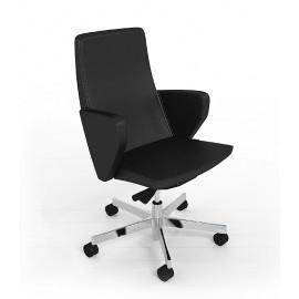 D1 08 Designer Besucher-Sessel in Leder, niedrige Rückenlehne mit Armlehnen