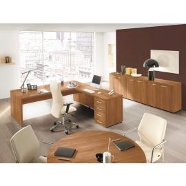 DELTA EVO 06 Chefzimmer komplett, Winkelschreibtisch, Meetingtisch, Sideboard