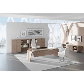 04 Design Chefzimmer - Schreibtisch, Büroeinrichtung modern in Eiche, Büroregal, Highboard, Larus