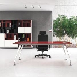 ENOSI-EVO 02 Design Chefschreibtisch, Glas Tischplatte, weiss-lackiertes Gestell