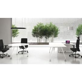 Enosi Evo 06 Chefzimmer Meetingtisch rund, Glasschreibtisch weiß