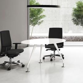 Enosi Evo 07 Büro Meetingtisch rund, Glas in weiß lackiert