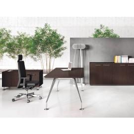 Enosi Evo 08 Büro Schreibtisch, Holzfarbe Wenge, Tischgestell verchromt