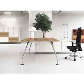 Enosi Evo 09 Büro Chefschreibtisch in pazifischem Nußbaum, Tischgestell chrom mit Servicecontainer