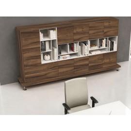 Enosi Evo 13 modulares Büro-Regal Schrank System, italienischer Nussbaum