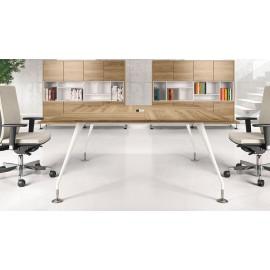 Enosi Evo 03 hochwertiger Büro Konferenztisch viereckig, quadratisch, Tischplatte in pazifischen Nussbaum