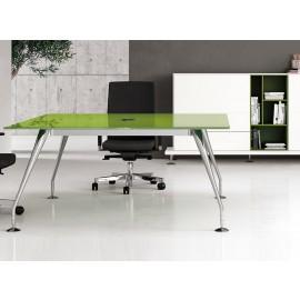 Enosi Evo 16 Designer Glas-Konferenztisch mit Kabelöffnung in Chrom