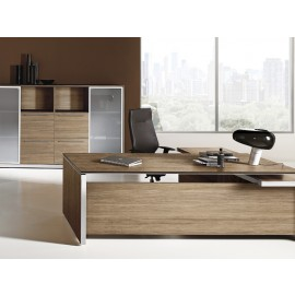 E.O.S 02 hochwertiges Design-Chefzimmer mit Schreibtisch in Ulmenholz und Aluminium mit Titanium Effekt