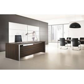 E.O.S. 07 exklusiv Schreibtisch, geschlossene Seiten, Meetingtisch, Holzfarbe Eiche dunkel, Alu Tischkanten