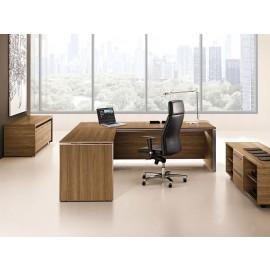 E.O.S. 08 exklusiver Büro Eckschreibtisch geschlossen, Holzfarbe Ulme, Alu-Seiten