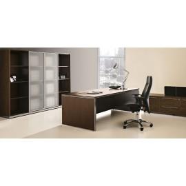 E.O.S. 09 exklusives Chefbüro, Schreibtisch geschlossen, Aktenschrank mit Glastüren satiniert
