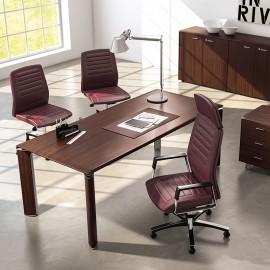 FILL EVO 01 Design Chef-Schreibtisch, zeitlos mit gerundeten Tischecken und Tischbeinen, Holzfarbe Wenge