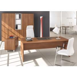 FILL EVO 04 elegant leichtes Chefbüro, Schreibtisch mit geschlossen Seiten in der Holzfarbe Walnuss