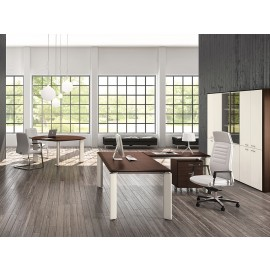 FILL EVO 05 elegant modernes Chefbüro, Schreibtisch zweifarbig mit Meetingtisch rund