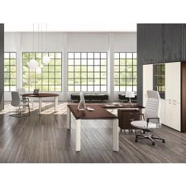 FILL EVO 02 elegant modernes Chefbüro, Schreibtisch zweifarbig mit Meetingtisch rund