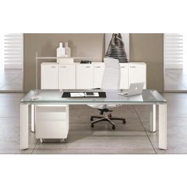 FILL EVO 07 Design Glas-Schreibtisch für Chefbüro, satiniert, Tischgestell in weiss, Glastisch, Glasschreibtisch,