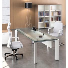 FILL EVO 08 Design Glas-Schreibtisch, exklusives Arztzimmer und Sprechzimmer, Glas Tisch