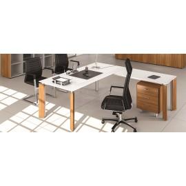FILL EVO 09 exklusives Büro, Designer Holz, Glas-Winkelschreibtisch für Chef und Management oder Ärzte