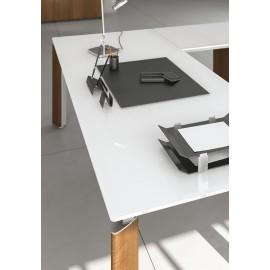 FILL EVO 10 Details Holz, Glas, Winkelschreibtisch, sehr hochwertig und elegant, Glas Tisch weiß lackiert