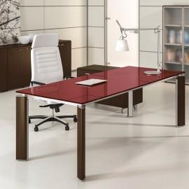FILL EVO 11 exklusive Design Büroeinrichtung mit Glas-Schreibtisch und Holzfußgestell, zweifarbig für Chefzimmer, Vorstand oder Ärzte