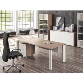 FILL EVO 13 elegant, minimalistisches Chefbüro, komplett mit Schreibtisch zweifarbig in Sandlärche, weiss, Arztzimmer