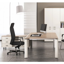FILL EVO 04 Chefzimmer komplett mit Schreibtisch, Meetingtisch Kombination, zweifarbig in Sandlärche, weiss, Arzt-Schreibtisch