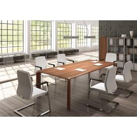 FILL EVO 01 großer Konferenztisch für z.B. Tagungsraum, Meetingtisch in Walnuss und Chrom