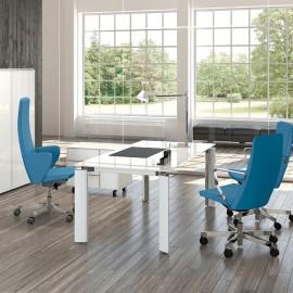 FILL HG 03 hochwertiger Glas-Schreibtisch, hochglanz extra weiß, exklusive Büroeinrichtung