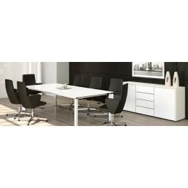 FILL HG 04 Designer Konferenztisch aus hochwertigem Glas, Meetingtisch hochglanz weiß, Chefbüro mit Sideboard, Glastisch, Glasschreibtisch