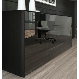 FILL HG 06 hochwertiges Chefzimmer Sideboard, hochglanz Glastüren schwarz lackiert mit Push Pull Funktion