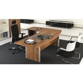 Format 02 Chefschreibtisch, geschlossenes Holzgestelll in Walnuß, preiswert und schnell konfigurieren