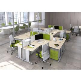 Format 03 Sternarbeitsplatz, Team-Schreibtisch mit Sichtschutz, offenes Büro