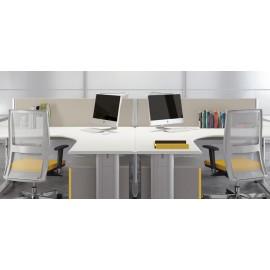 Format 08 Sternschreibtisch, Teambüro, Schreibtisch mit Schallschutz Paneelen