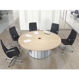 Format 09 exklusiv runder Büro-Meetingtisch in Ahorn und weiß, massives Design