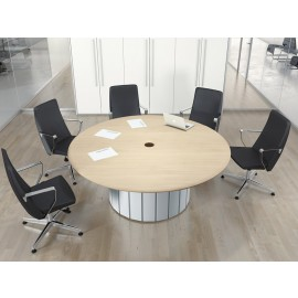 Format 01 exklusiv runder Büro-Meetingtisch in Ahorn und Golf Siber, massives Design
