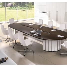 Format 10 exklusiv Konferenztisch mit abgerundeten Kanten, Büro-Meetingtisch in Wenge und weiß, massives Design