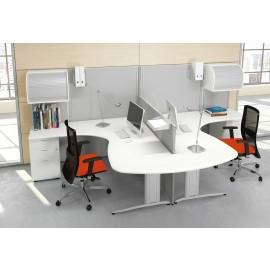 Format 15 Büro-Schreibtisch, kompakt mit Stauraum, Hängeschränke, Rollladentür