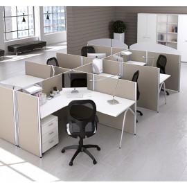 Format 19 Callcenter Schreibtisch, Büro-Möbel, Mitarbeiter, Schallschutz