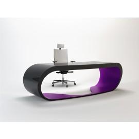 Goggle 14 massiver Schreibtisch in hochglanz schwarz und violett lackiert