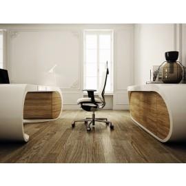 Goggle 16 Schreibtisch mit Schublade, Design Chefzimmer mit edlem Oliven-Holz