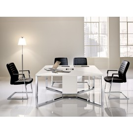 I-MEET 04 hochwertiger Design Chef-Meetingtisch, Besprechungs-Tisch mit Chrom Tischgestell