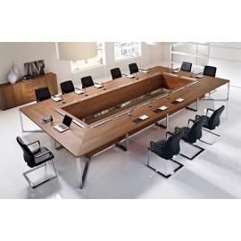 I-MEET 07 großer Konferenztisch, exklusives Design mit kabelführung, Farbe Walnuss, Chromgestell